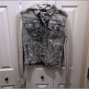Express Jean Jacket Acid Wash Hooded Size Small